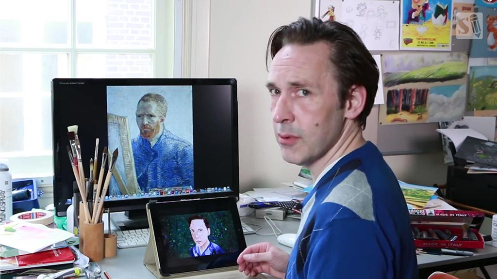Stefan interviewt Vincent van Gogh voor de YouTube kanalen 'Stefan Tekent en 'Stayf Draws'