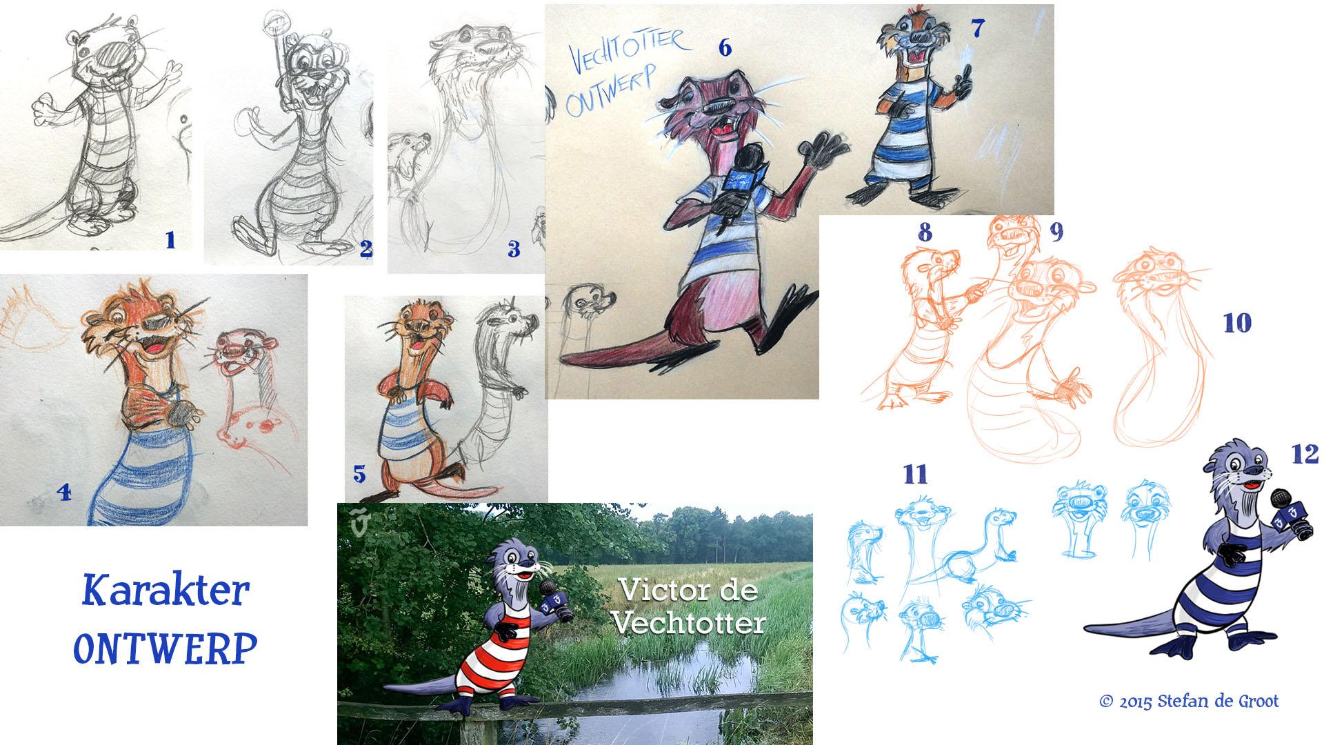 Otter voor Vechtstromen VictorVechtotter-karakterOntwerp