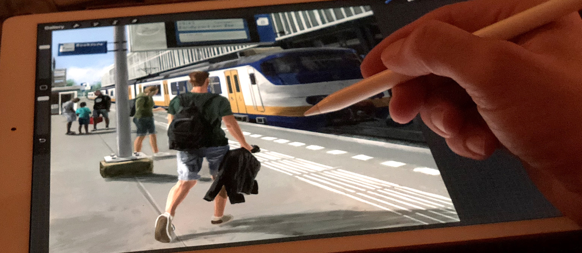 iPad schilderij van Stefan de Groot voor Zandvoorts Museum
